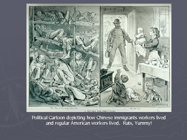 Political Cartoon depicting how Chinese immigrants workers lived and regular American workers lived. Rats,
