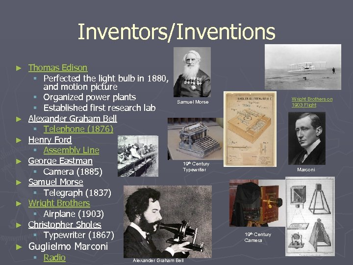Inventors/Inventions ► ► ► ► Thomas Edison § Perfected the light bulb in 1880,