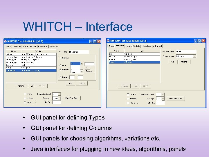 WHITCH – Interface • GUI panel for defining Types • GUI panel for defining