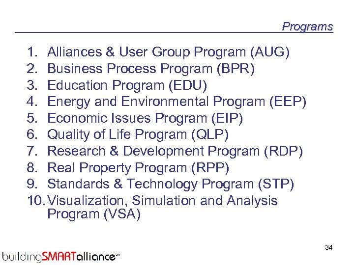 Programs 1. Alliances & User Group Program (AUG) 2. Business Process Program (BPR) 3.