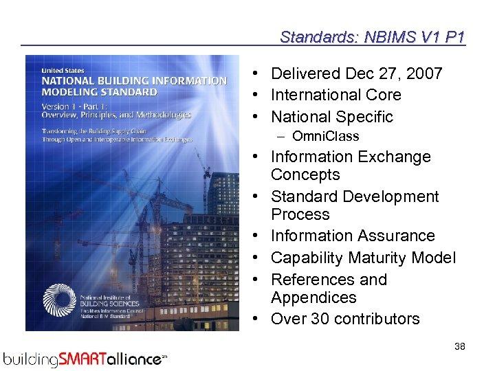 Standards: NBIMS V 1 P 1 • Delivered Dec 27, 2007 • International Core