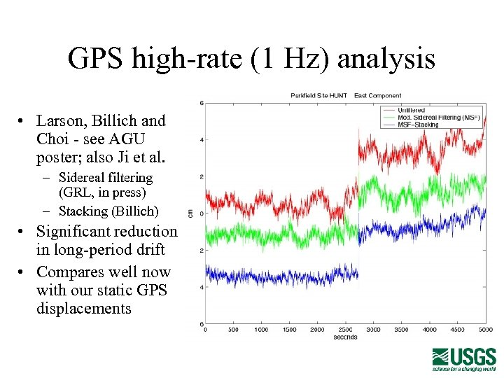 GPS high-rate (1 Hz) analysis • Larson, Billich and Choi - see AGU poster;