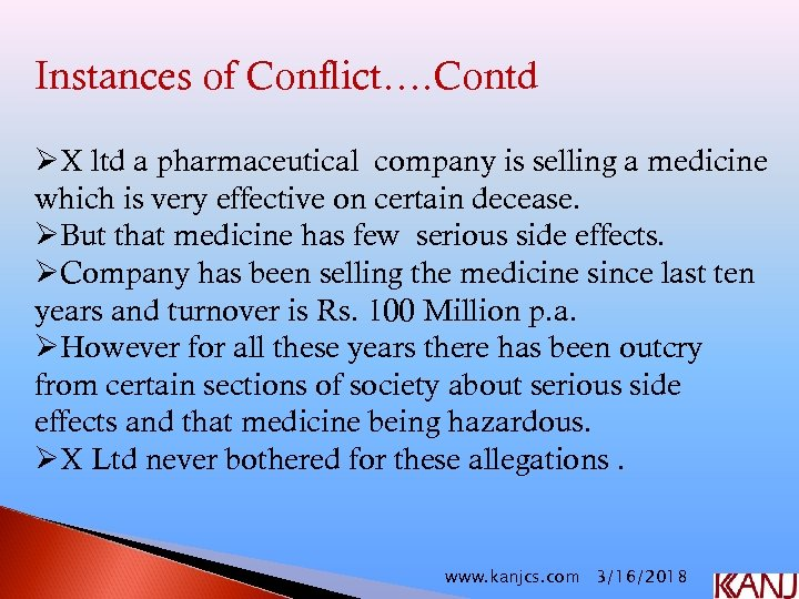 Instances of Conflict…. Contd ØX ltd a pharmaceutical company is selling a medicine which