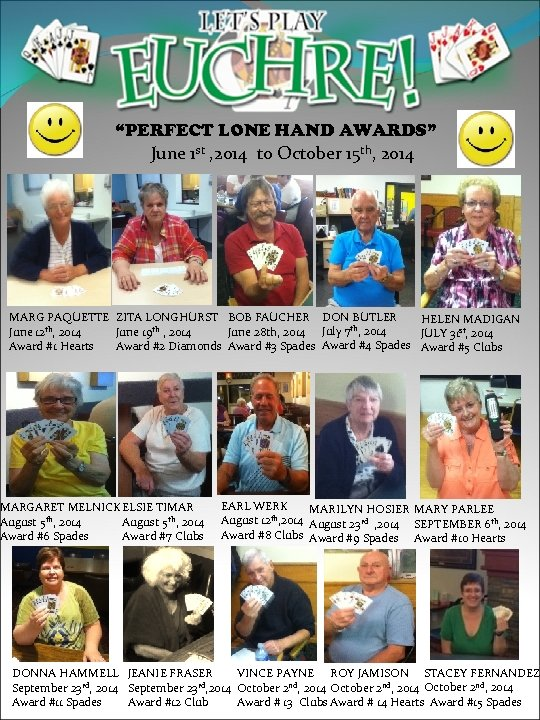 """""""PERFECT LONE HAND AWARDS"""" June 1 st , 2014 to October 15 th, 2014"""