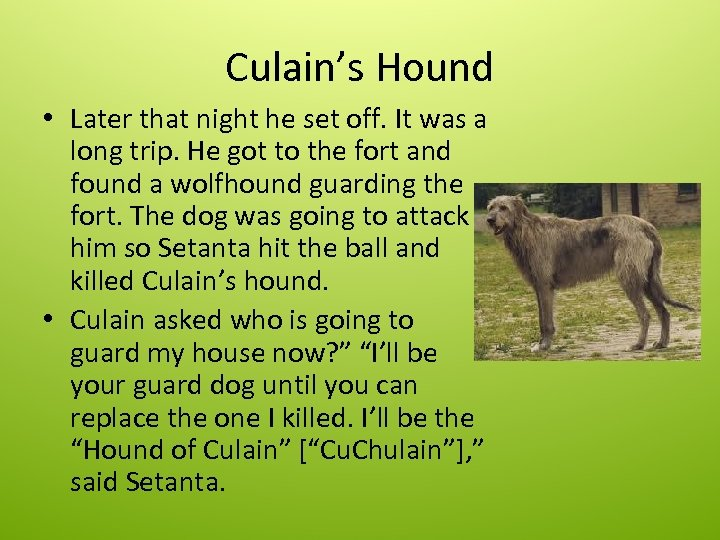 Culain's Hound • Later that night he set off. It was a long trip.