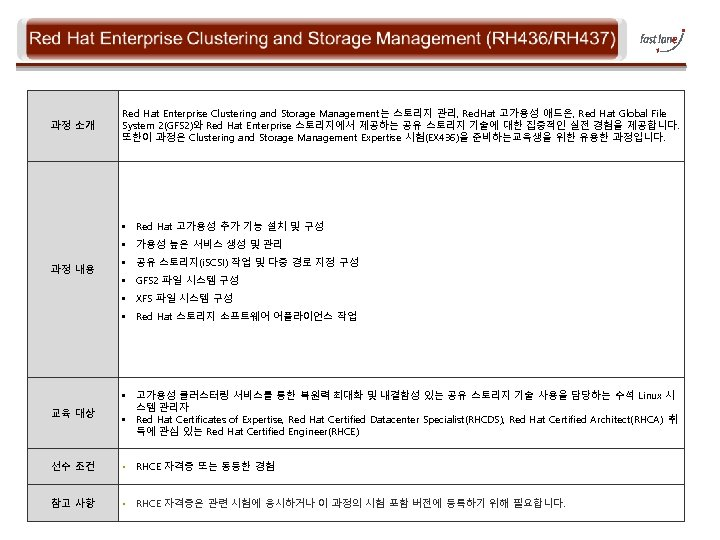 과정 소개 Red Hat Enterprise Clustering and Storage Management는 스토리지 관리, Red. Hat 고가용성