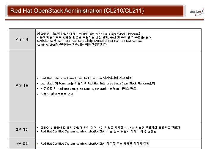 과정 소개 이 과정은 시스템 관리자에게 Red Hat Enterprise Linux Open. Stack Platform을 사용하여