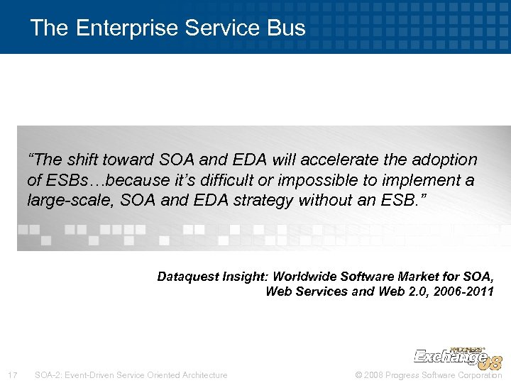 "The Enterprise Service Bus ""The shift toward SOA and EDA will accelerate the adoption"