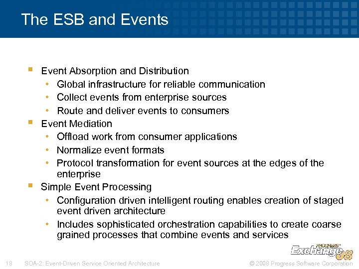 The ESB and Events § § § 18 Event Absorption and Distribution • Global