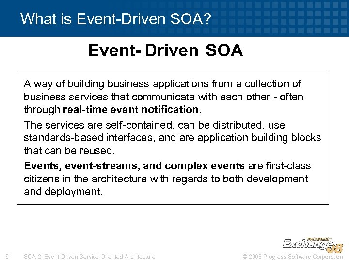 What is Event-Driven SOA? Event- Driven SOA A way of building business applications from