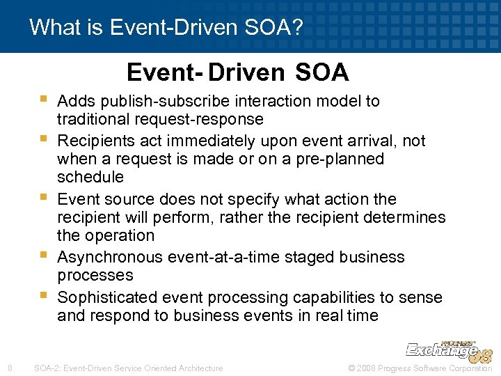What is Event-Driven SOA? Event- Driven SOA § § § 8 Adds publish-subscribe interaction