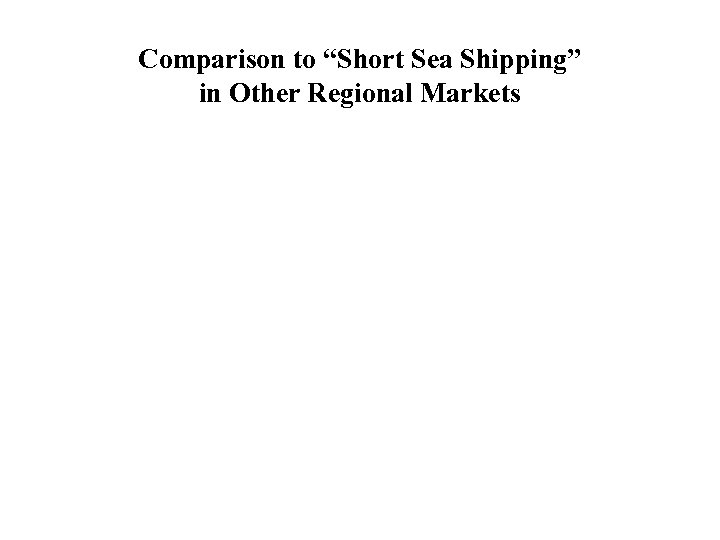 """Comparison to """"Short Sea Shipping"""" in Other Regional Markets"""