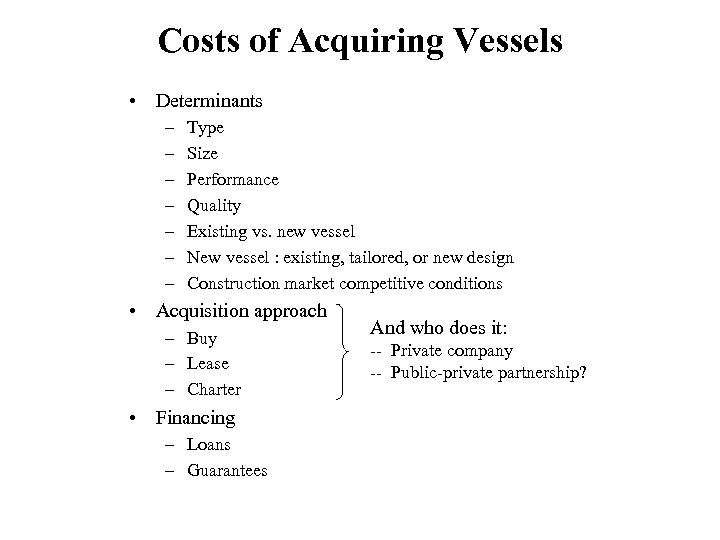 Costs of Acquiring Vessels • Determinants – – – – Type Size Performance Quality