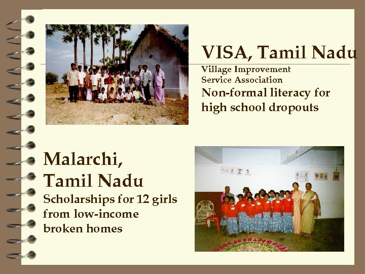 VISA, Tamil Nadu Village Improvement Service Association Non-formal literacy for high school dropouts Malarchi,