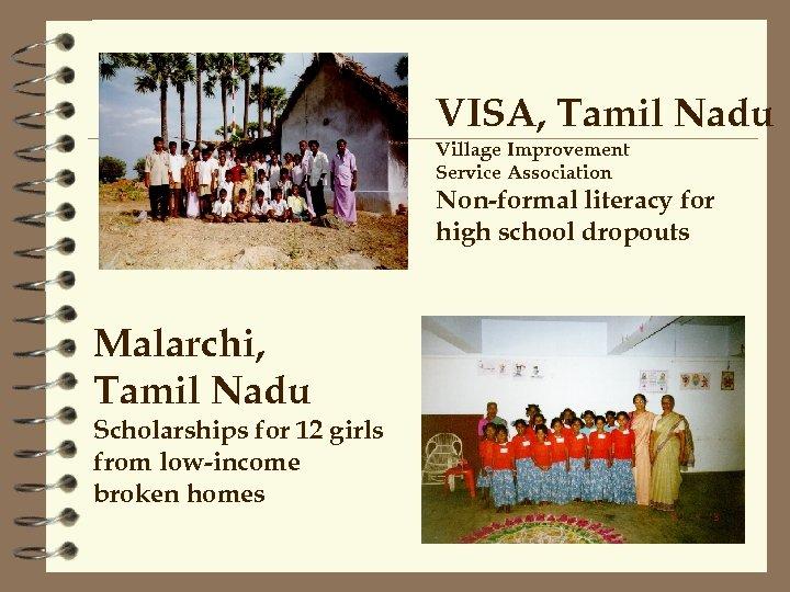 VISA, Tamil Nadu Village Improvement Service Association Non-formal literacy for high school dropouts Malarchi,
