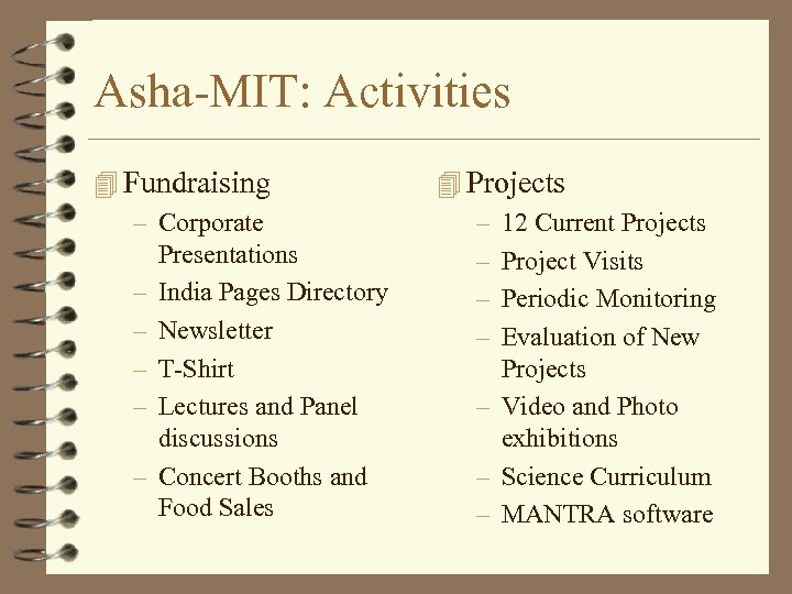 Asha-MIT: Activities 4 Fundraising – Corporate – – – Presentations India Pages Directory Newsletter