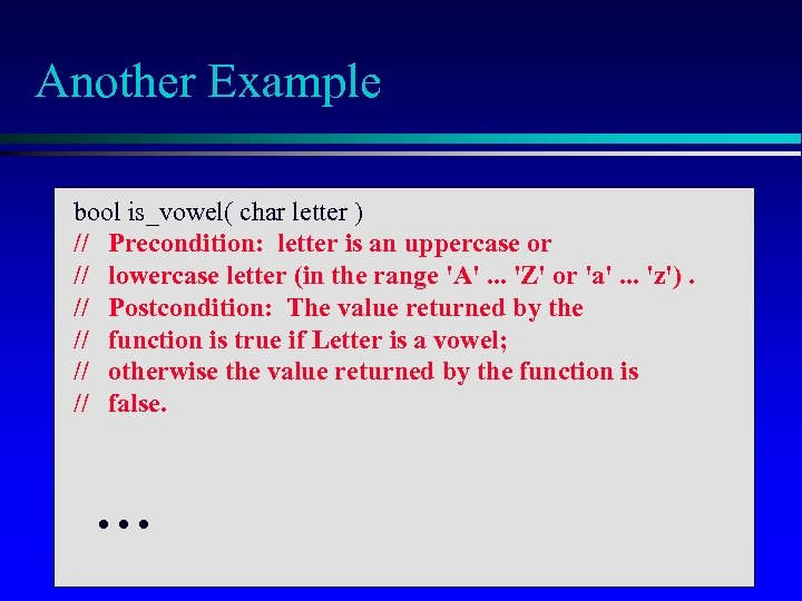 Another Example bool is_vowel( char letter ) // Precondition: letter is an uppercase or