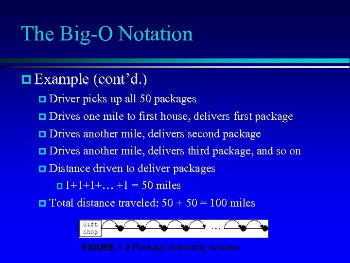 The Big-O Notation Example (cont'd. ) Driver picks up all 50 packages Drives one
