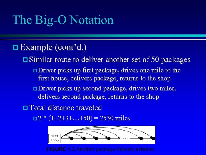 The Big-O Notation Example (cont'd. ) Similar route to deliver another set of 50