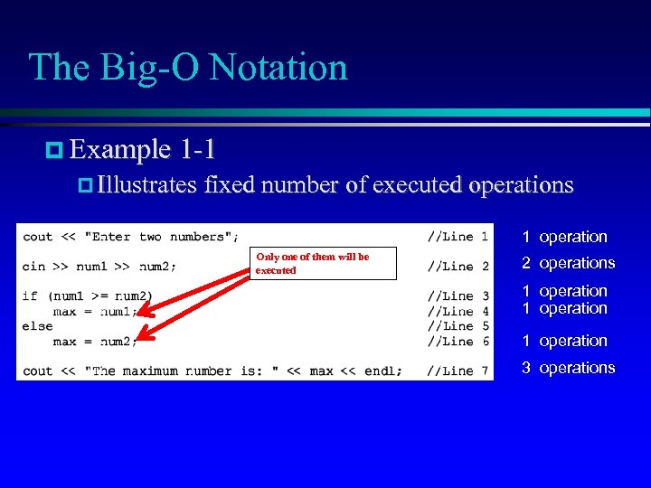 The Big-O Notation Example 1 -1 Illustrates fixed number of executed operations 1 operation