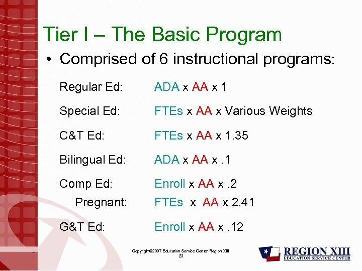 Tier I – The Basic Program • Comprised of 6 instructional programs: Regular Ed: