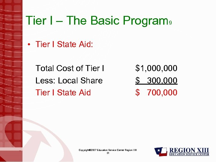 Tier I – The Basic Program 9 • Tier I State Aid: Total Cost