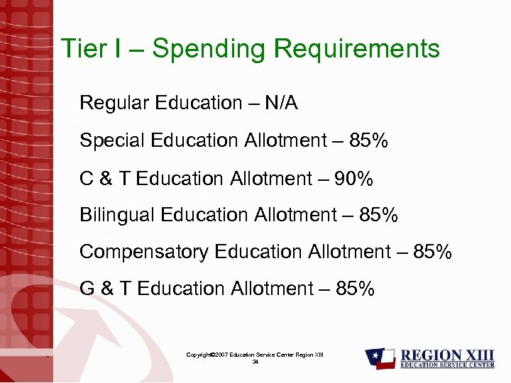 Tier I – Spending Requirements Regular Education – N/A Special Education Allotment – 85%