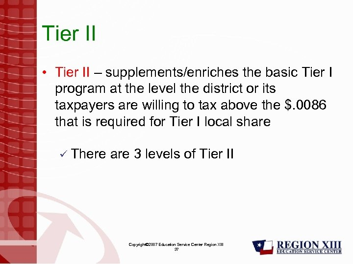 Tier II • Tier II – supplements/enriches the basic Tier I program at the