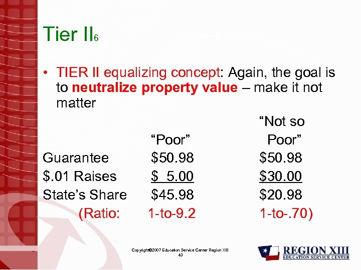 Tier II 6 • TIER II equalizing concept: Again, the goal is to neutralize