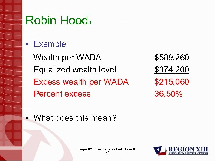 Robin Hood 3 • Example: Wealth per WADA Equalized wealth level Excess wealth per