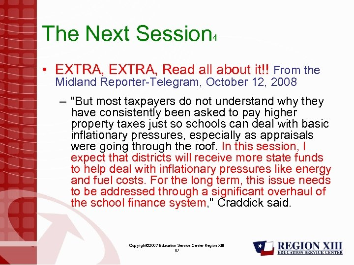 The Next Session 4 • EXTRA, Read all about it!! From the Midland Reporter-Telegram,
