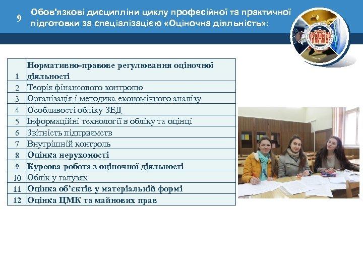 Обов'язкові дисципліни циклу професійної та практичної 9 підготовки за спеціалізацією «Оціночна діяльність» : 1