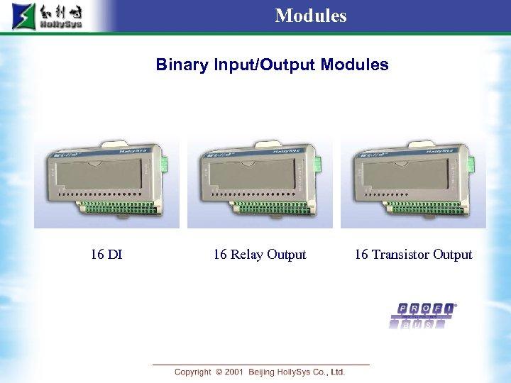 Modules Binary Input/Output Modules 16 DI 16 Relay Output 16 Transistor Output