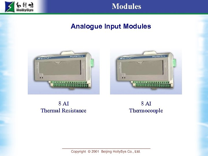 Modules Analogue Input Modules 8 AI Thermal Resistance 8 AI Thermocouple