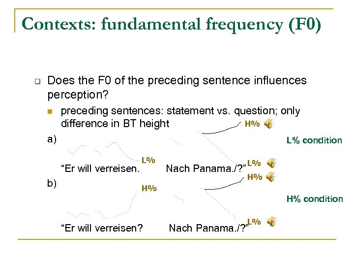 Contexts: fundamental frequency (F 0) q Does the F 0 of the preceding sentence
