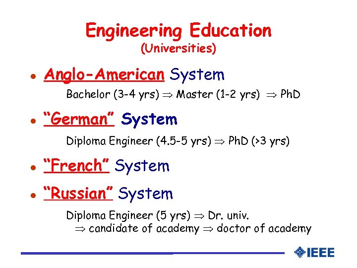 Engineering Education (Universities) l Anglo-American System Bachelor (3 -4 yrs) Master (1 -2 yrs)
