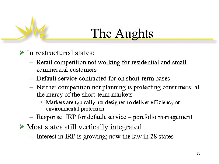 The Aughts Ø In restructured states: – Retail competition not working for residential and