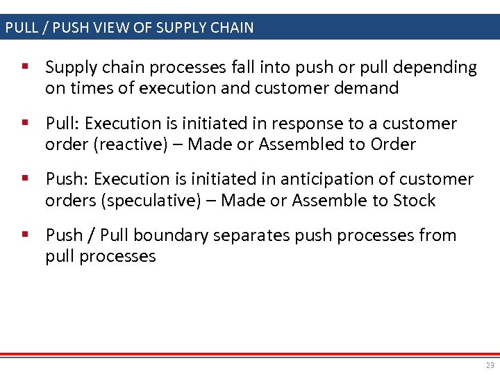 PULL / PUSH VIEW OF SUPPLY CHAIN § Supply chain processes fall into push