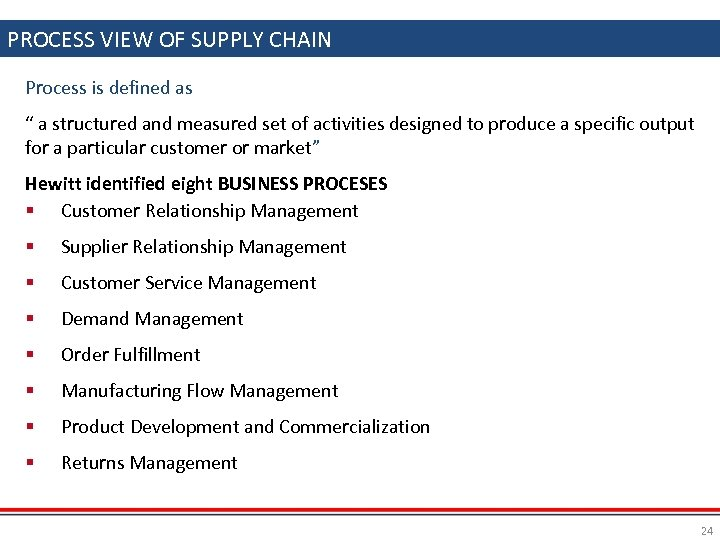 "PROCESS VIEW OF SUPPLY CHAIN Process is defined as "" a structured and measured"