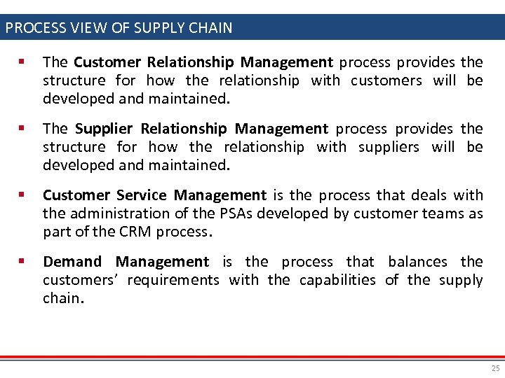 PROCESS VIEW OF SUPPLY CHAIN § The Customer Relationship Management process provides the structure