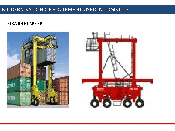 MODERNISATION OF EQUIPMENT USED IN LOGISTICS STRADDLE CARRIER 43