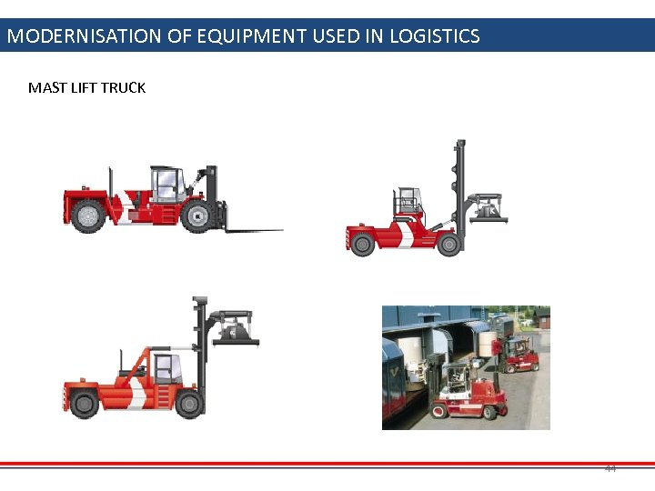 MODERNISATION OF EQUIPMENT USED IN LOGISTICS MAST LIFT TRUCK 44