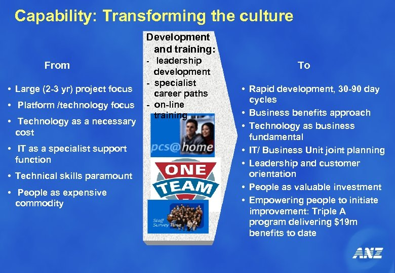 Capability: Transforming the culture Development and training: From • Large (2 -3 yr) project