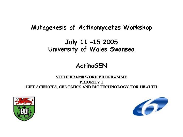 Mutagenesis of Actinomycetes Workshop July 11 – 15 2005 University of Wales Swansea