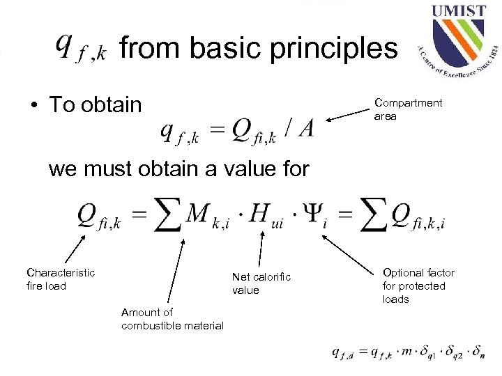 from basic principles • To obtain Compartment area we must obtain a value for