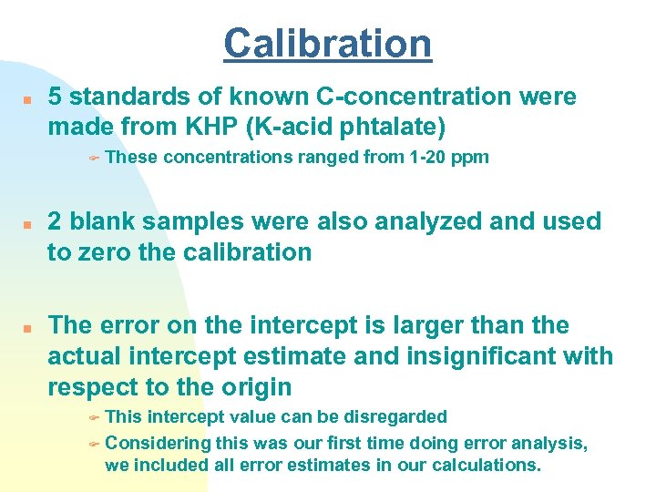 Calibration n 5 standards of known C-concentration were made from KHP (K-acid phtalate) F