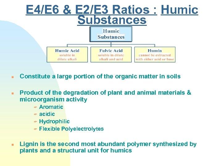 E 4/E 6 & E 2/E 3 Ratios : Humic Substances n n Constitute