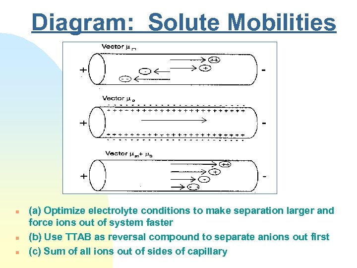 Diagram: Solute Mobilities n n n (a) Optimize electrolyte conditions to make separation larger