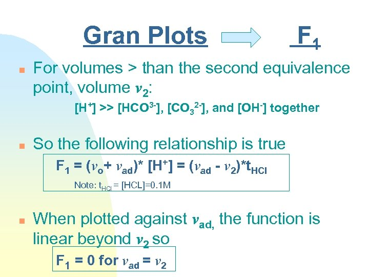 Gran Plots n F 1 For volumes > than the second equivalence point, volume