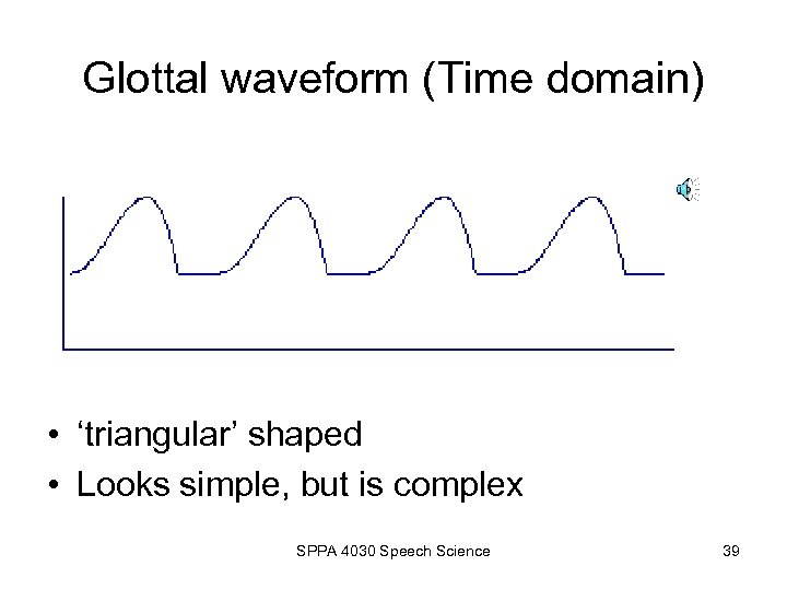 Glottal waveform (Time domain) • 'triangular' shaped • Looks simple, but is complex SPPA